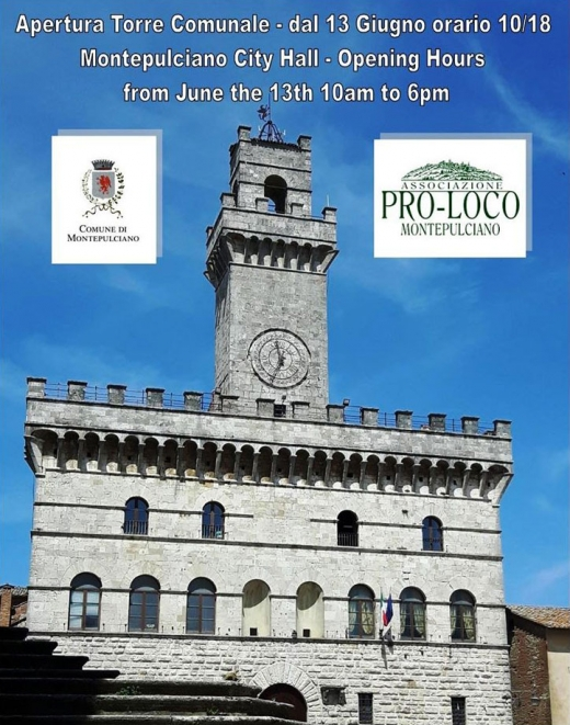 Montepulciano City Hall TOWER Opening Hours from June the 13th