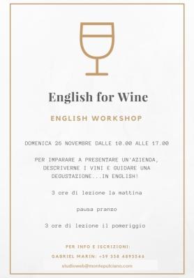 English for Wine - English Workshop - Domenica 21 gennaio 2018 Intermediate / 28 gennaio 2018 B...