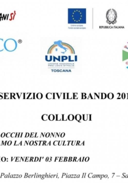 SERVIZIO CIVILE BANDO 2016 DATA DEL COLLOQUI - VENERDI' 03 FEBBRAIO